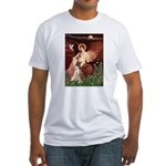 Seated Angel & Boxer Fitted T-Shirt