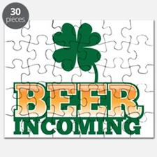 BEER INCOMING with an Irish green shamrock Puzzle