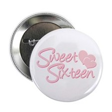 Sweet Sixteen Heart Button