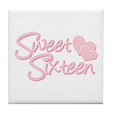 Sweet Sixteen Heart Tile Coaster