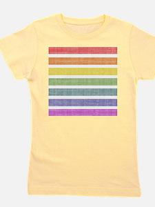 Worn Rainbow Stripes Girl's Tee