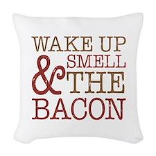 Wake Up Smell Bacon Woven Throw Pillow