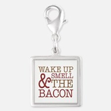 Wake Up Smell Bacon Silver Square Charm