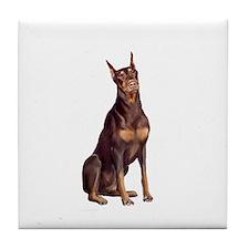 Red Doberman #1 Tile Coaster