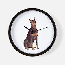 Red Doberman #1 Wall Clock
