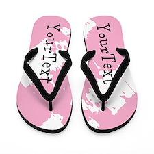 Personalize Pink Black Flip Flops