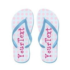 Personalized Pink Blue Polka Dot Flip Flops
