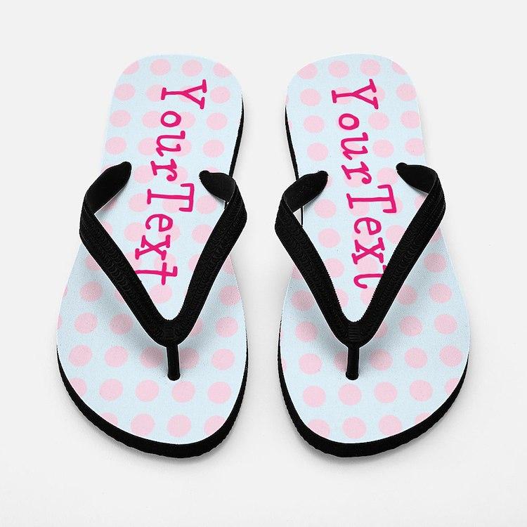 Personalized Pink Blue Polka Dot Flip Flops