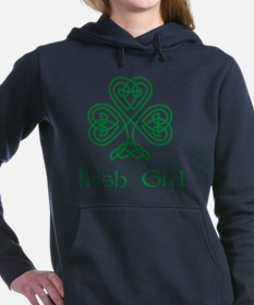 Irish Girl Knotwork Shamrock Hooded Sweatshirt