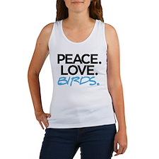 Peace. Love. Birds. (Black and Blue) Tank Top