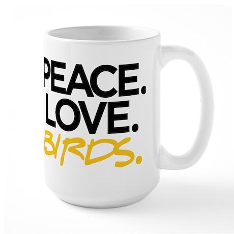 Peace. Love. Birds. (Black and Yellow) Mug