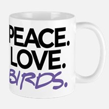 Peace. Love. Birds. (Black and Purple) Mug