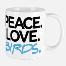 Peace. Love. Birds. (Black and Blue) Mug