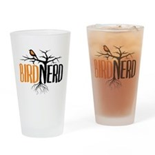 Bird Nerd (Black and Orange) Drinking Glass