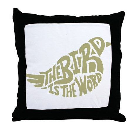 The Bird is the Word (light green) Throw Pillow