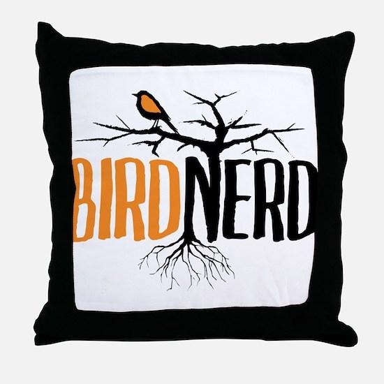 Bird Nerd (Black and Orange) Throw Pillow