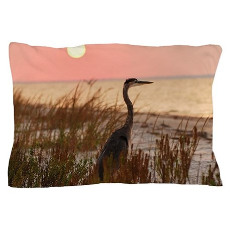 Heron At Sunset Pillow Case By Listing Store 15921336