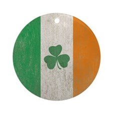 Vintage Irish Shamrock Flag Round Ornament
