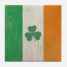 Vintage Irish Shamrock Flag Tile Coaster