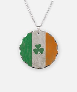 Vintage Irish Shamrock Flag Necklace