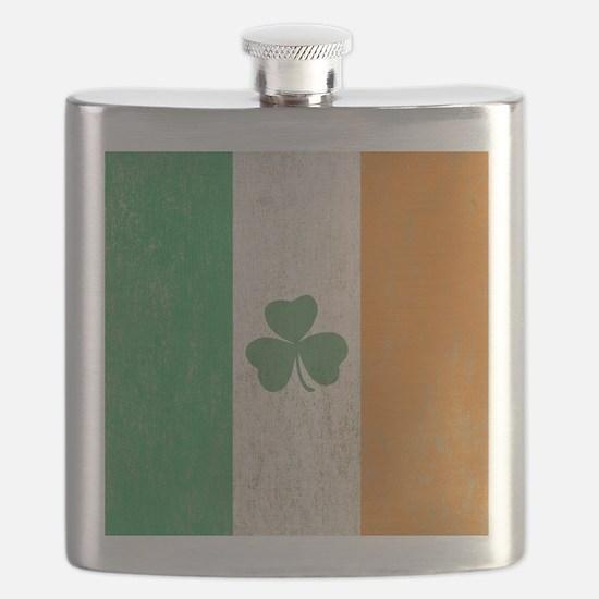 Vintage Irish Shamrock Flag Flask