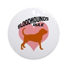 Bloodhounds Rule w/ Heart Ornament (Round)