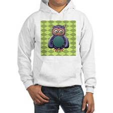 Funky Purple Owl on Green Harleq Hoodie
