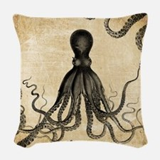 Vintage Octopus Woven Throw Pillow