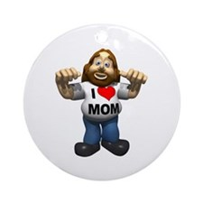 I Love Mom Ornament (Round)