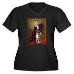 Lincoln & his Boxer Women's Plus Size V-Neck Dark