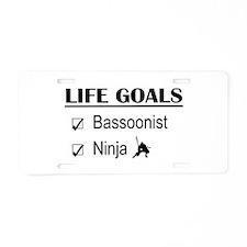 Bassoonist Ninja Life Goals Aluminum License Plate