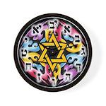 Rainbow Scroll-Star Hebrew Wall Clock