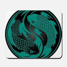 Teal Blue and Black Yin Yang Koi Fish Mousepad