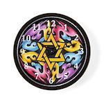 Rainbow Scroll-Star (black) Wall Clock