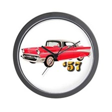 57 Red Chevy Wall Clock