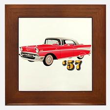 57 Red Chevy Framed Tile