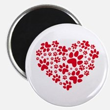 Red heart with paw prints Magnets