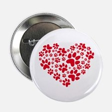 """Red heart with paw prints 2.25"""" Button"""