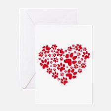 Red heart with paw prints Greeting Cards