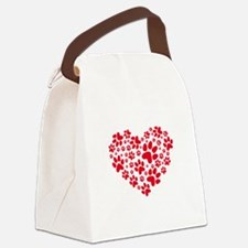 Red heart with paw prints Canvas Lunch Bag