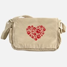 Red heart with paw prints Messenger Bag