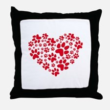 Red heart with paw prints Throw Pillow