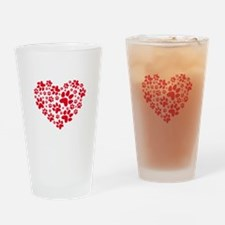 Red heart with paw prints Drinking Glass