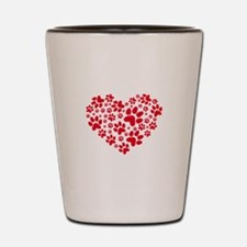 Red heart with paw prints Shot Glass