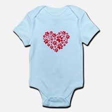 Red heart with paw prints Body Suit