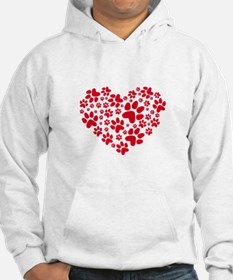 Red heart with paw prints Hoodie