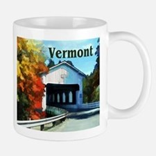 White Covered Bridge Colorful Autumn Vermont Mugs