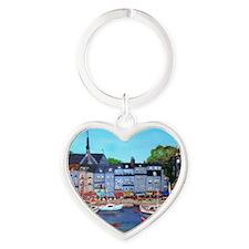 Honfleur, France Heart Keychain