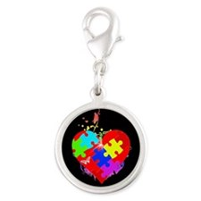 Autism Puzzle on Heart Silver Round Charm