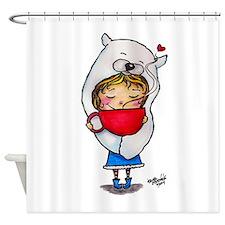 Bear Hug Mug Girl Shower Curtain